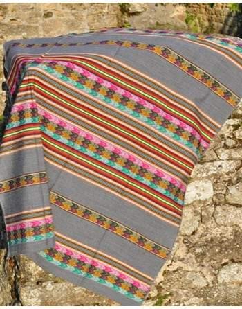 Tissu manta péruvienne gris