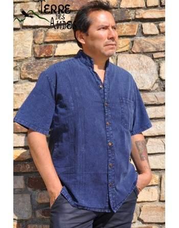 Chemise manche courte bleu denim