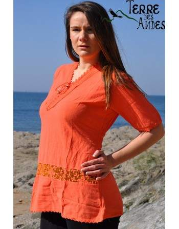 Blouse longue orange