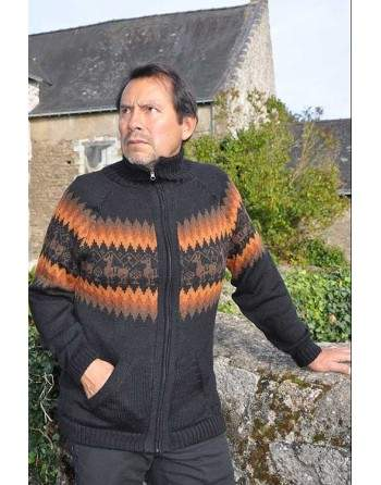 Cardigan péruvien noir