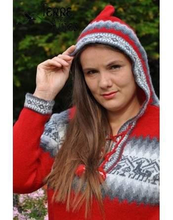 Pull à capuche rouge en laine d'Alpaga