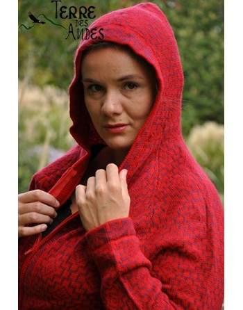 Cardigan rouge indien avec capuche