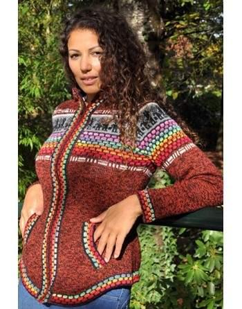 Gilet péruvien couleur brique