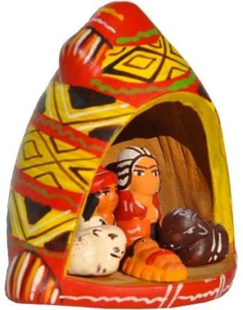 Crèche en céramique peinte à la main