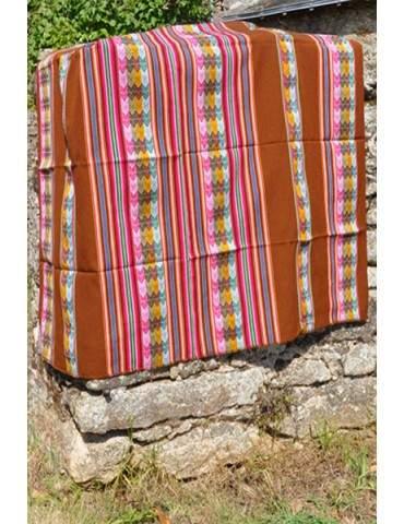 Tissu manta péruvienne marron
