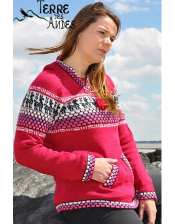 Pull à capuche fuchsia en laine d'Alpaga