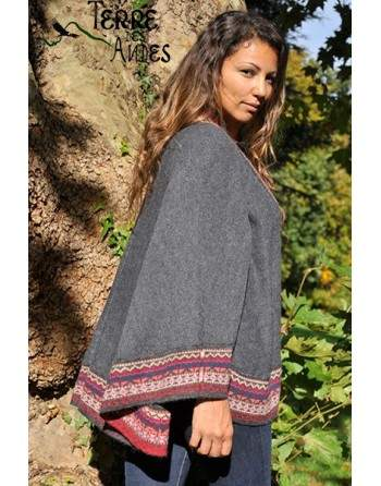 Châle cape en laine d'alpaga