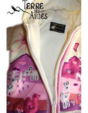 Veste péruvienne enfant doublée polaire pour garçon ou fille