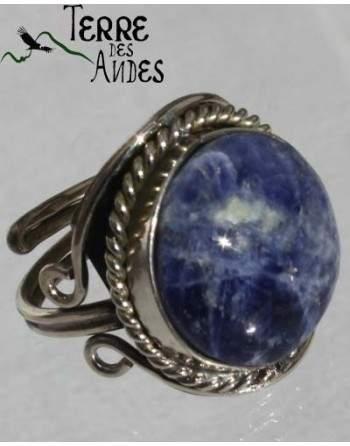 Bague reglable en pierre lapis-lazuli