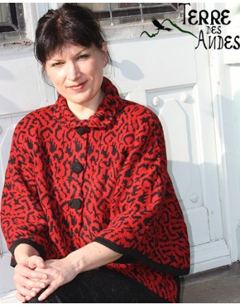 Cardigan-poncho rouge indien