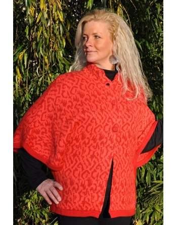 Cardigan poncho rouge