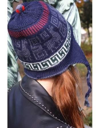 Bonnet Péruvien réversible bleu indigo