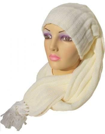 Écharpe bonnet tubulaire blanc