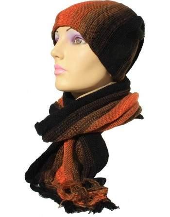 Écharpe bonnet tubulaire orange et noir