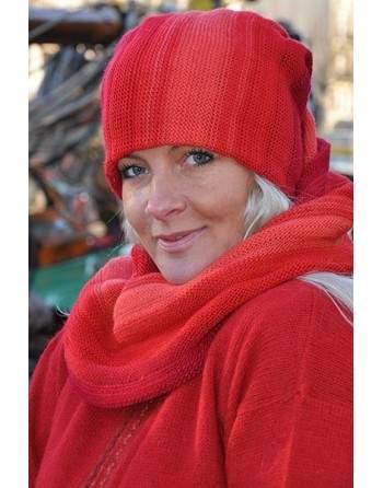 Écharpe bonnet tubulaire rouge et rose
