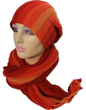 Écharpe bonnet tubulaire orange rouge