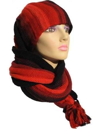 Écharpe bonnet tubulaire noir et rouge
