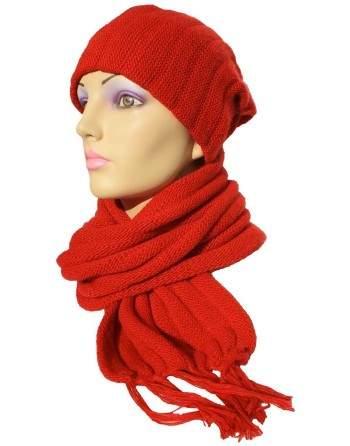 Écharpe bonnet tubulaire rouge