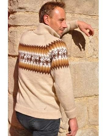 Cardigan péruvien beige des Andes