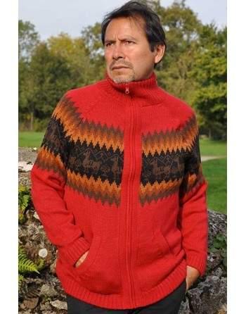 Cardigan péruvien rouge
